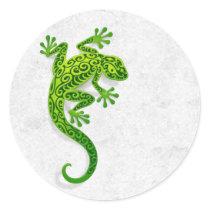 Climbing Green Gecko on a White Wall Classic Round Sticker