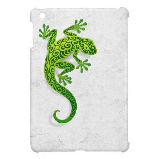 Climbing Green Gecko on a White Wall iPad Mini Cases