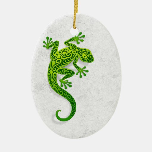 Climbing Green Gecko on a White Wall Ornament