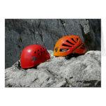 Climbing Helmets on a Rock Blank Card Greeting Cards