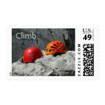 Climbing Helmets on a Rock Stamps
