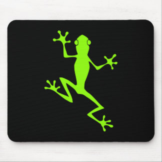 Climbing Lime Green Frog Silhouette Mouse Pad