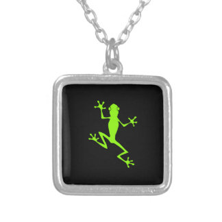 Climbing Lime Green Frog Silhouette Jewelry