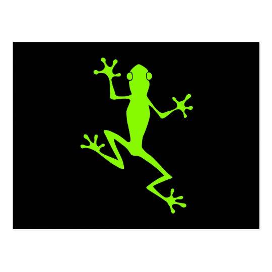 Climbing Lime Green Frog Silhouette Postcard