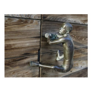 Climbing Man Door Knob Postcard