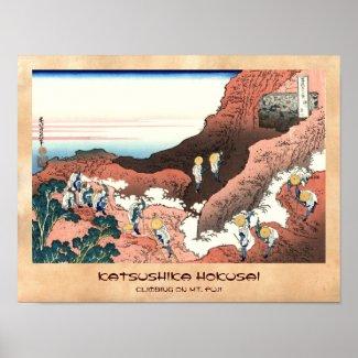 Climbing on Mt. Fuji Katsushika Hokusai Print