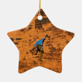 Climbing on Red Rocks Ceramic Ornament
