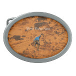 Climbing on Red Rocks; Customizable Oval Belt Buckle