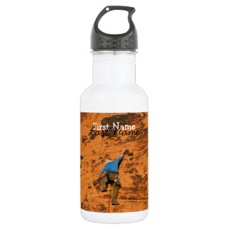 Climbing on Red Rocks; Customizable 18oz Water Bottle