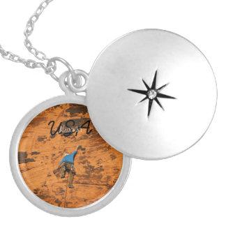 Climbing on Red Rocks; Nevada Souvenir Round Locket Necklace