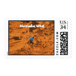 Climbing on Red Rocks; Nevada Souvenir Postage Stamp