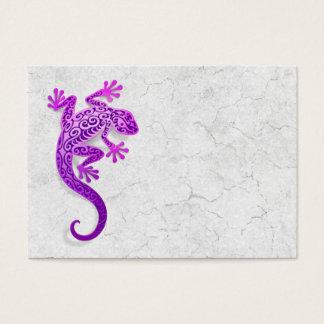 Climbing Purple Gecko on a White Wall Business Card