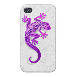 Climbing Purple Gecko on a White Wall Cases For iPhone 4