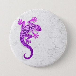Climbing Purple Gecko on a White Wall Pinback Button