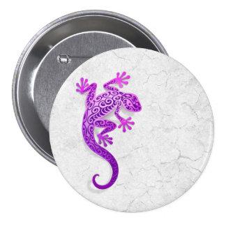 Climbing Purple Gecko on a White Wall Pinback Button