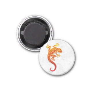 Climbing Red Gecko on a White Wall 1 Inch Round Magnet