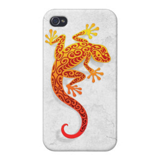 Climbing Red Gecko on a White Wall Cases For iPhone 4