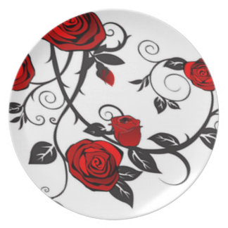 Climbing Red Roses Plate