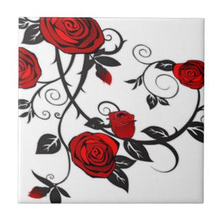 Climbing Red Roses Ceramic Tiles