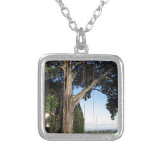 Climbing ropes hanging from a big tree silver plated necklace