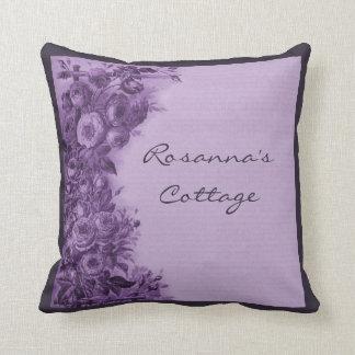 Climbing Rose Vintage Collage (Purple) Custom Pillows