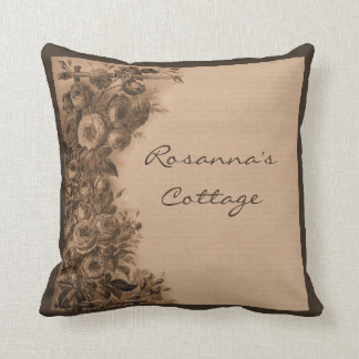 Climbing Rose Vintage Collage (Sepia) Custom Throw Pillow