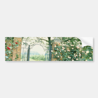Climbing Roses Beside Wrought-Iron Gate flower Bumper Stickers