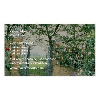 Climbing Roses Beside Wrought-Iron Gate flower Business Card Template
