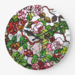 Climbing Roses - stained glass Large Clock