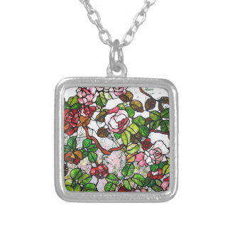 Climbing Roses - stained glass Necklace