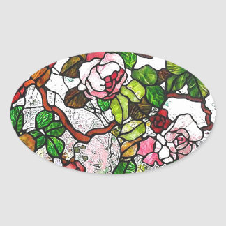Climbing Roses - stained glass Oval Stickers