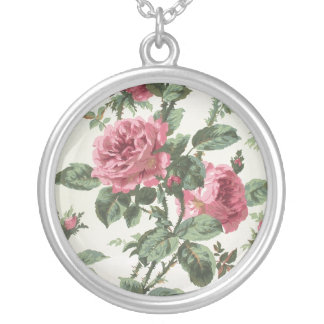 Climbing roses wallpaper, 1900-1915 round pendant necklace
