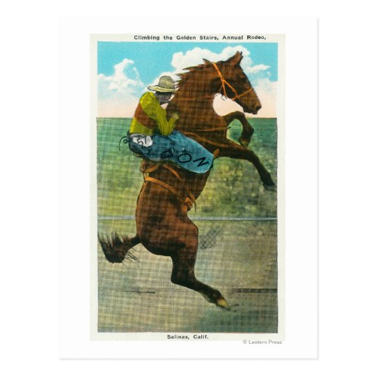 Climbing the Golden Stairs at the Annual Rodeo Postcard