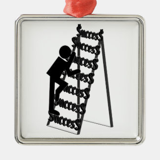 Climbing the Ladder of Success Square Metal Christmas Ornament