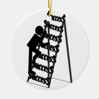 Climbing the Ladder of Success Double-Sided Ceramic Round Christmas Ornament