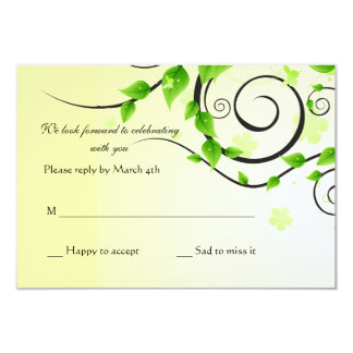 "Climbing Vine Reply Card 3.5"" X 5"" Invitation Card"