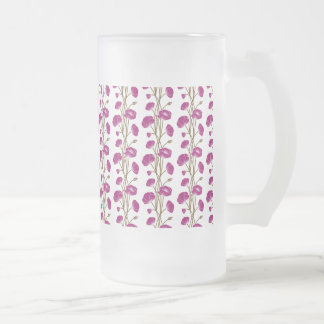 Climbing Vines of Plum Roses Frosted Glass Beer Mug