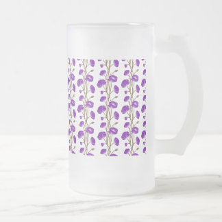 Climbing Vines of Purple Roses Frosted Glass Beer Mug