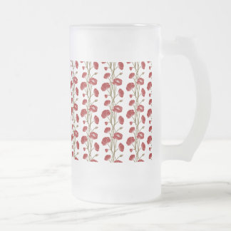 Climbing Vines of Red Roses Frosted Glass Beer Mug