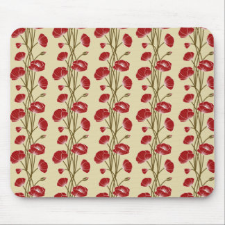 Climbing Vines of  Red Roses on Cream Mouse Pads