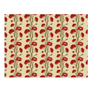 Climbing Vines of  Red Roses on Cream Postcard