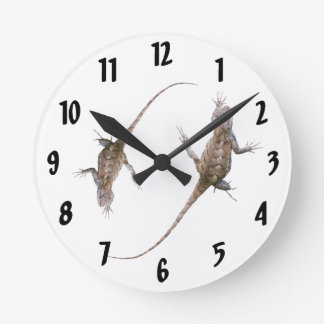 Clinging Eastern Fence Lizards Round Clock