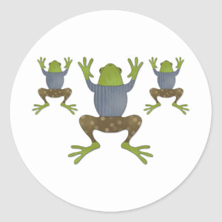 Clinging Frogs Round Sticker