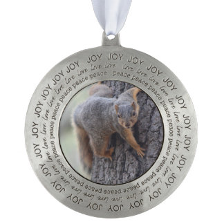 Clinging Squirrel Pewter Ornament