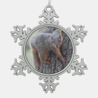 Clinging Squirrel Snowflake Pewter Christmas Ornament
