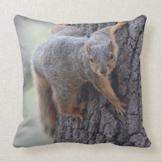 Clinging Squirrel Throw Pillow