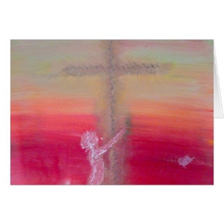 """Clinging to a Cross"" Greetings Card"