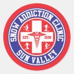 Clínica del apego de la nieve de Sun Valley Etiqueta Redonda