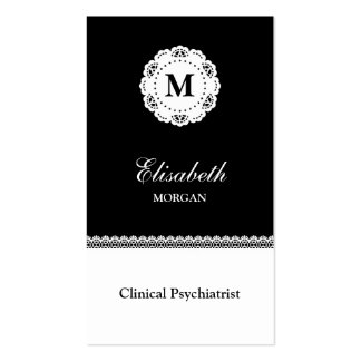 Clinical Psychiatrist Black White Lace Monogram Business Card