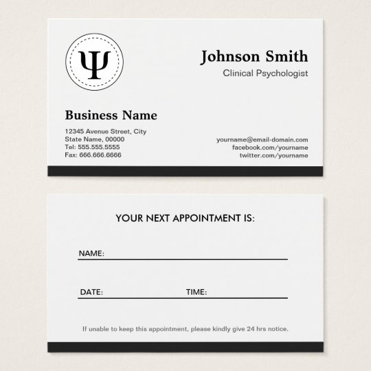 Psychologist Business Cards Templates Zazzle - Business card appointment template